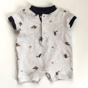 Ralph Lauren Baby Boy Polo Bear Cotton Shortall